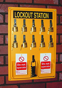 Lockout Station  board  10 x padlocks  6 x Do not operate tags pk of 10 and 1 lockout hasp