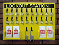 Lockout Station  board  20 x padlocks  12 x Do not operate tags pk of 10 and 2 lockout hasp