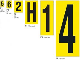 Individual Self-Adhesive Numbers - Yellow - H.9.5 x W.6mm  Numbers