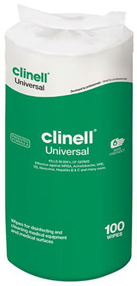 Clinell Universal Wipes  100 Wipe Refill for Tub