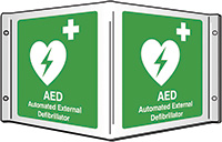 AED Automate External Defibrillator Projecting 3D Sign 200x400mm  Safety Sign