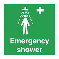 Emergency Shower  150x150mm 1.2mm Rigid Plastic Safety Sign