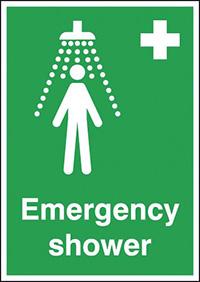 Emergency Shower  210x148mm 1.2mm Rigid Plastic Safety Sign