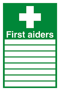 Thumbnail First Aiders  with spaces  300x200mm Self Adhesive Vinyl Safety Sign