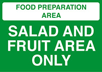 Thumbnail Food Prep Area - Vegetable Area Only  148x210mm 1.2mm Rigid Plastic Safety Sign