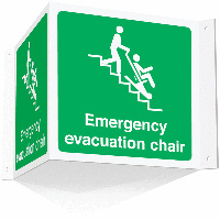 Emergency evacuation chair projecting 3D sign   Safety Sign