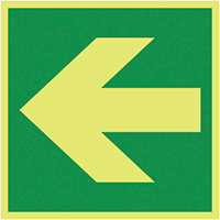 Lateral Arrow  150x150mm 1.2mm Nite Glo Rigid Safety Sign