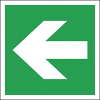 Lateral Arrow  200x200mm 1.2mm Nite Glo Rigid Safety Sign