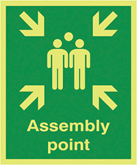 Assembly Point  600x450mm 1.2mm Nite Glo Rigid Safety Sign