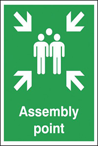 Assembly Point  297x210mm 1.2mm Rigid Plastic Safety Sign