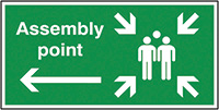 Assembly Point Arrow Left  150x300mm 1.2mm Rigid Plastic Safety Sign