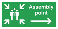 Assembly Point Arrow Right  150x300mm 1.2mm Rigid Plastic Safety Sign