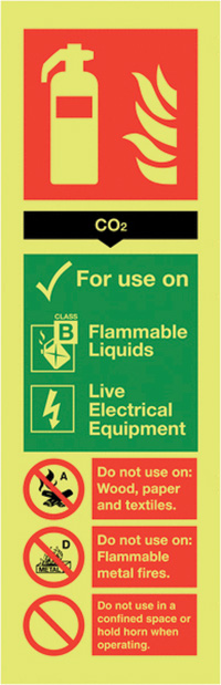 Carbon Dioxide Extinguisher For Use On  300x100mm Nite Glo Self Adhesive Vinyl Safety Sign