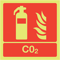 CO2 Extinguisher  100x100mm 1.2mm Nite Glo Rigid Safety Sign
