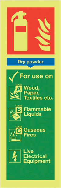 Dry Powder Extinguisher For Use On  300x100mm Nite Glo Self Adhesive Vinyl Safety Sign