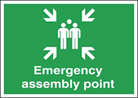 Emergency Assembly Point  297x210mm 1.2mm Rigid Plastic Safety Sign