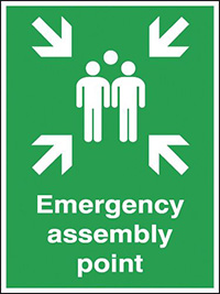 Emergency assembly point  400x300mm 3mm Aluminium Safety Sign