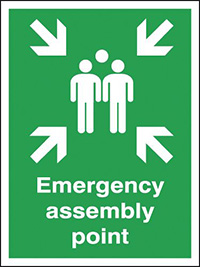 Emergency Assembly Point   400x300mm 0.9mm Aluminium Safety Sign