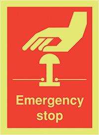 Emergency Stop  100x75mm 1.2mm Nite Glo Rigid Safety Sign