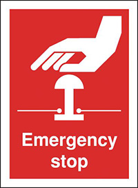 Emergency Stop  100x75mm  1.2mm Rigid Plastic Safety Sign