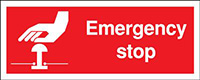 Emergency Stop  100x250mm 1.2mm Rigid Plastic Safety Sign