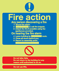 Fire Action Notice  Standard   300x250mm 1.2mm Xtra Glo Rigid Plastic Safety Sign