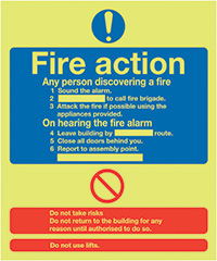 Fire Action Notice  Standard   300x250mm 1.2mm Nite Glo Rigid Safety Sign