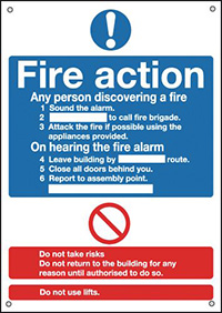 Fire Action Notice  Standard   400x300mm 0.9mm Aluminium Safety Sign