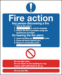 Fire Action Notice  297x210mm 1.2mm Rigid Plastic Safety Sign