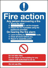 Fire Action Notice  Standard   210x148mm 1.2mm Rigid Plastic Safety Sign
