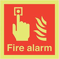 Fire Alarm  150x150mm 1.2mm Nite Glo Rigid Safety Sign