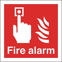 Fire Alarm  200x200mm Self Adhesive Vinyl Safety Sign