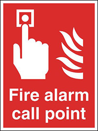 Fire Alarm Call Point  300x250mm 1.2mm Rigid Plastic Safety Sign