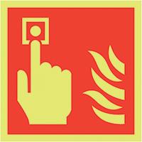 Fire Alarm Call Point Symbol  200x200mm 1.2mm Xtra Glo Rigid Plastic Safety Sign