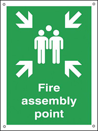Fire Assembly Point   400x300mm 0.9mm Aluminium Safety Sign