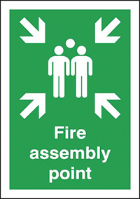 Fire Assembly Point  594x420mm 2mm Polycarbonate Safety Sign