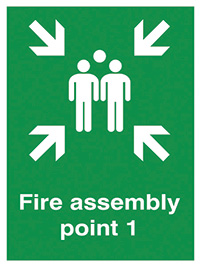 Fire Assembly Point 1   400x300mm 0.9mm Aluminium Safety Sign