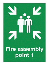 Fire Assembly Point 1   600x450mm 0.9mm Aluminium Safety Sign