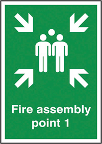 Fire Assembly Point 1  297x210mm 1.2mm Rigid Plastic Safety Sign