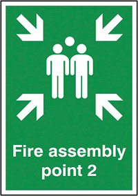 Fire Assembly Point 2  297x210mm 1.2mm Rigid Plastic Safety Sign