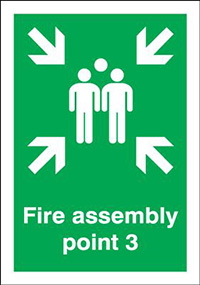 Fire Assembly Point 3  297x210mm 1.2mm Rigid Plastic Safety Sign