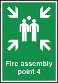 Fire Assembly Point 4  297x210mm 1.2mm Rigid Plastic Safety Sign