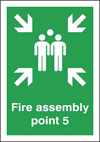 Fire Assembly Point 5  297x210mm 1.2mm Rigid Plastic Safety Sign