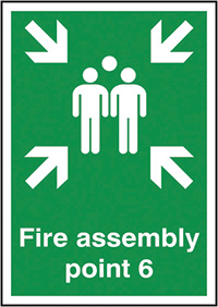 Fire Assembly Point 6  297x210mm 1.2mm Rigid Plastic Safety Sign