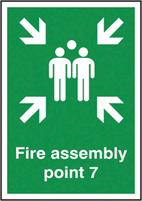 Fire Assembly Point 7  297x210mm 1.2mm Rigid Plastic Safety Sign