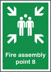 Fire Assembly Point 8  297x210mm 1.2mm Rigid Plastic Safety Sign