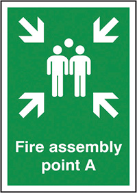 Fire Assembly Point A  297x210mm 1.2mm Rigid Plastic Safety Sign