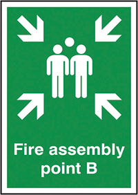 Fire Assembly Point B  297x210mm 1.2mm Rigid Plastic Safety Sign