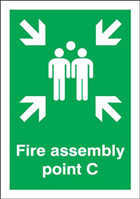Fire Assembly Point C  297x210mm 1.2mm Rigid Plastic Safety Sign