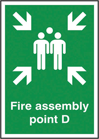 Fire Assembly Point D  297x210mm 1.2mm Rigid Plastic Safety Sign